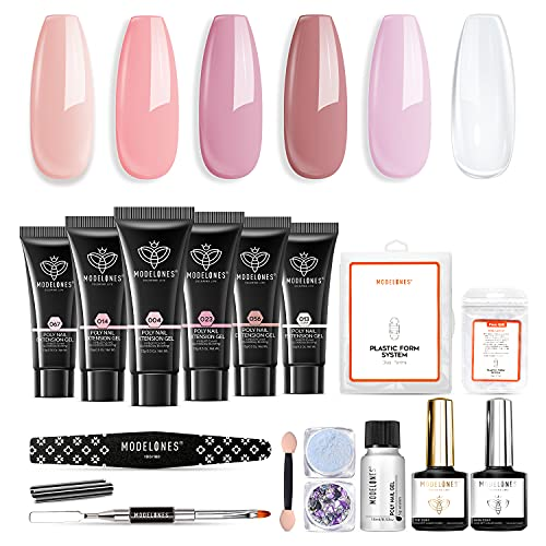 Modelones Poly Nail Gel Kit- 6 Colors Enhancement Nail Extension Gel Kit with Slip Solution Trial Professional Technician All-in-One French Kit