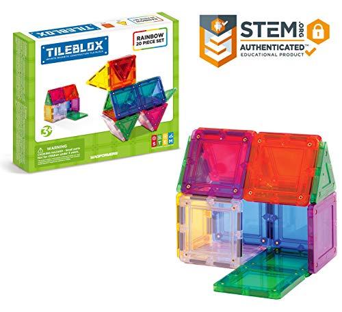 Tileblox Basic Rainbow 20 Pieces, Rainbow Colors, Magentic Geometric Shapes Building STEM Toy Set Ages 3+