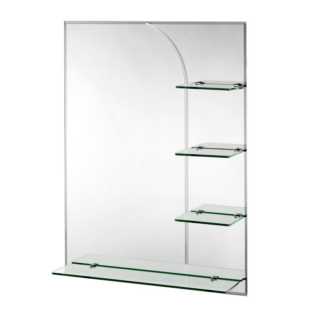 bathroom mirror with shelves amazon comcroydex bampton bevelled edge wall mirror 32 inch x 24 inch with shelves and