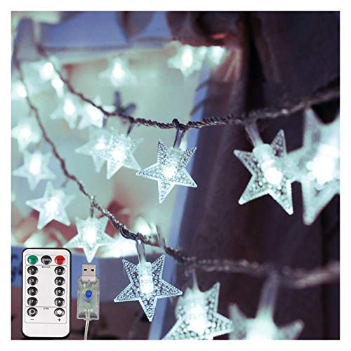 String Lights LED Star Light String Twinkle Garlands Battery Powered Christmas Lamp Holiday Party Wedding Decorative (Emitting Color : White USB)