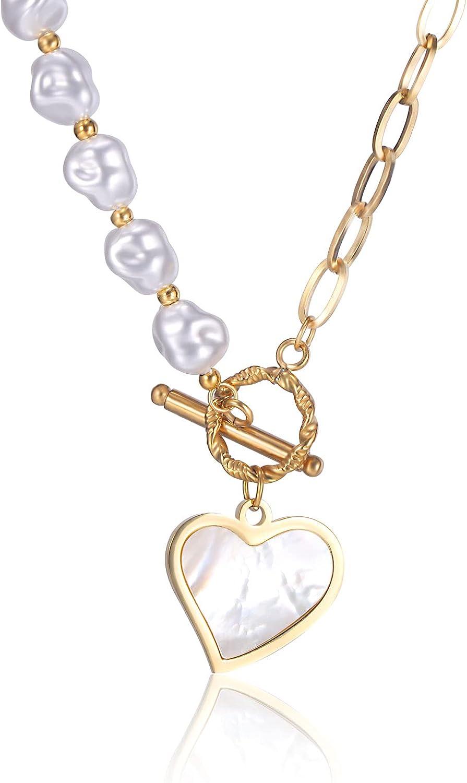 BYIA Pearl Heart Necklace Beaded Choker for Women, Handmade Heart Pendant Splicing Beads Pearl Necklace Women Teen Girl Jewelry Gift