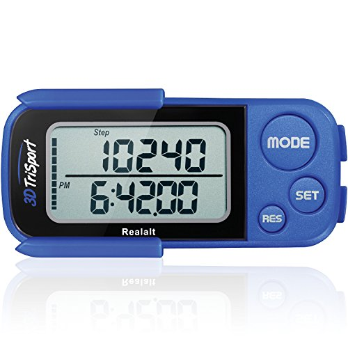 Realalt 3DTriSport 3D Pedometer, Accurate Step Counter with Clip and Strap (Blue)