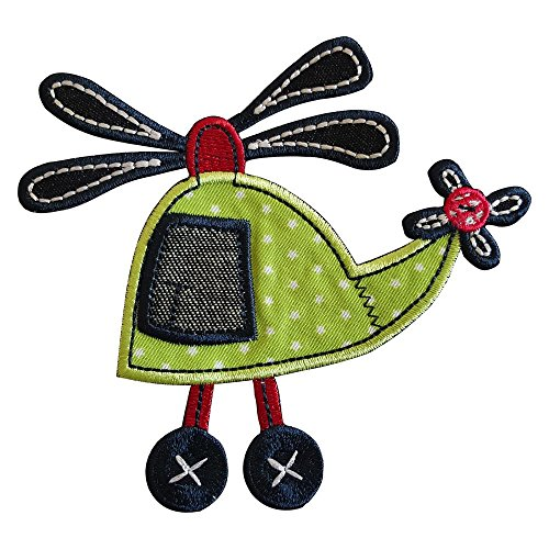 Helikopter 11X11cm opstrijkbare patch stof patch kleding opnaaien strijkafbeelding om op het plafond broeken vlag hemd jurken pet rock turnzak halsdoek wimpel rugzak tas hoed sjaal jeans jas K