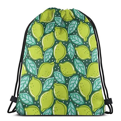 WH-CLA Cinch Bags Limette Pfeffer Minze Essen Und Trinken Zitrone Reisemuster Kordelzug Rucksack Langlebige Leichte Gürteltaschen Kordelzug Tasche Männer Nahtlose Student Gedruckt Frauen