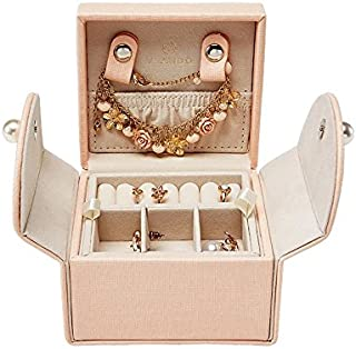 Vlando Small Jewelry Box Organizer - Stud Closing and 2-Tier Storage Case for Earrings Rings Necklaces - Best Gifts for Girls Women Ladies, Pink