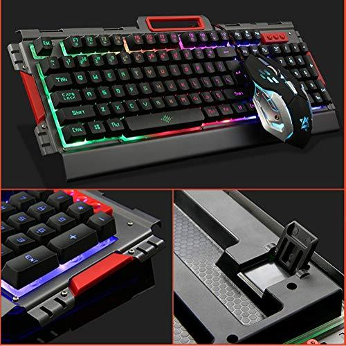 ZXGHS Juego De Teclado Y Mouse De Metal K33, Teclado Y Mouse De Luz USB con Cable, Modo De Retroiluminación Colorida Y Apariencia Mecánica De Metal, Duradero,Negro