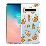 Unov Galaxy S10 Case Clear with Design Soft TPU Shock Absorption Embossed Pattern Slim Protective Back Cover for Galaxy S10 6.1in (Hanging Sloth)