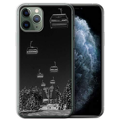 eSwish Gel TPU Hülle/Case für Apple iPhone 11 Pro/Ski Aufzug Muster/Skifahren/Snowboard Kollektion