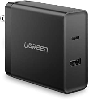 UGREEN USB C PD Charger Suitable for MacBook Pro 57W Dual Port Wall Charger Power Adapter 45W PD and 5V 2.4A Compatible with MacBook Pro iPad iPhone 11 Pro Max XR Xs Max X 8 7 Plus, Nintendo Switch