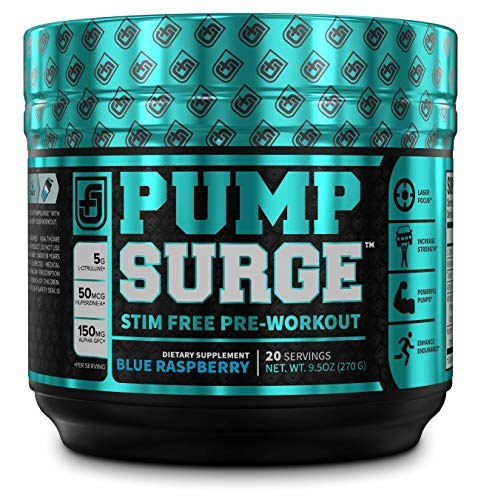 PUMPSURGE Caffeine Free Pump & Nootropic Pre Workout Supplement - Non Stimulant Preworkout Powder & Nitric Oxide Booster - 20 Servings, Blue Raspberry Flavor