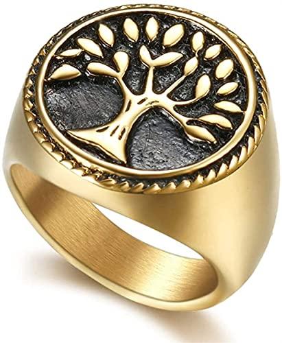 XBYN Hombres Vintage Acero Inoxidable Ring Vikingo, Norse Mitología Árbol de Anillo de Vida, Yggdrasil Odin Symbol Joyería Amuleto, Partido Anillo de Personalidad (Color : Gold, Size : 10)