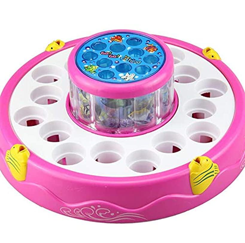 xiaopai Fishing Game Toy Set Fishing Board Toy Game Includes 26 Fishes Toy and 4 Fishing Poles Electric Magnetic Rotating Double Layer Board with Light and Music Children Gift