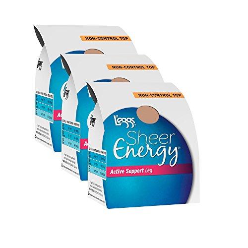 L'eggs Women`s Set of 3 L`eggs Sheer Energy Active Support Regular Panty ST B, Suntan