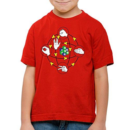 CottonCloud Piedra Papel Tijera Lagarto Spock Camiseta para Niños T-Shirt Sheldon, Color:Rojo, Talla:104