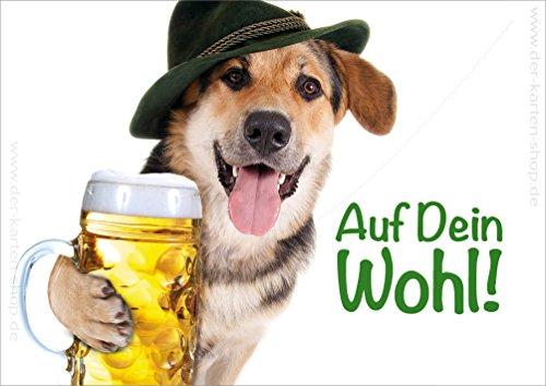 3 stuks dubbele kaart met envelop Dieransichtkaart verjaardagskaart, briefkaart hond met maat bier