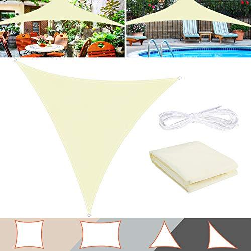 TedGem Sonnensegel, Sonnensegel Dreieckig Sonnensegel Wasserdicht, Sonnenschutz Balkon Hergestellt aus hochwertigem Polyester mit UV Schutz, 160 g / m2. für Garten/Balkon/Terrasse(3x3x3M)