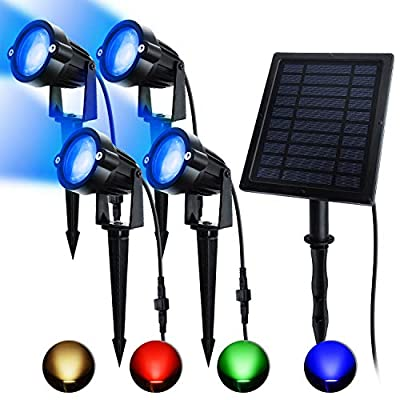 ASENEK Solar Spotlights, RGB Landscape Lights, LED Outdoor Spotlights with 6 Lighting Modes, Extra Backup Batteries Supply Design, Auto On/Off for House, Door, Patio, Lawn, Trees, Doors (1-4)