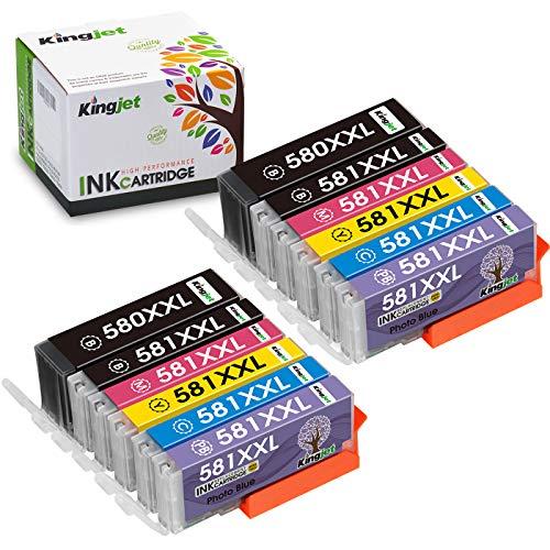 Kingjet PGI-580XXL CLI-581XXL Compatibile Canon PGI-580 CLI-581 Cartucce d'inchiostro per Pixma TS8150 TS8151 TS8152 TS9150 TS9155 TS8350 TS8250 TS8251 TS8252(PGBK/Nero/Ciano/Magenta/Giallo/Blu Foto)