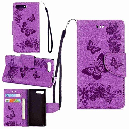 pinlu Schutzhülle Für Sony Xperia X Compact (4.6 Zoll) Handyhülle Hohe Qualität PU Ledertasche Brieftasche Mit Stand Function Innenschlitzen Design Groß Schmetterling Lila