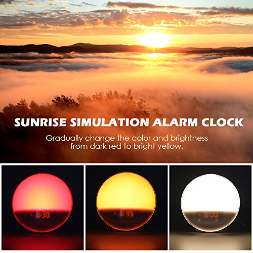 Wake Up Light, GRDE Night Light/Alarm Clock Colored Sunrise Simulation & Sleep Aid Feature, Dual Alarm Clock settable with FM Radio, 7 Natural Sound and Snooze Functions for Baby Kids