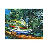 Lplpol Van Gogh - Rowing Boats on Banks of The Oise Canvas Print for Wall Art Decoration Wooden Framed (8 X 10 Inch, Framed)
