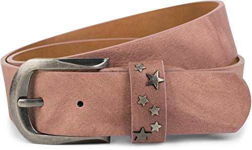 styleBREAKER cinturón con remaches de estrellas en el cierre, cinturón de remaches, reducible, unisex 03010082, tamaño:100cm, color:Rosa palo (Ropa)