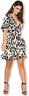 AX Paris Women's Leopard Print Frill Wrap Dress