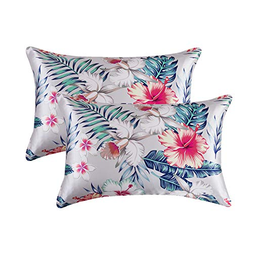 MR&HM Zippered Satin Pillowcase for Hair and Skin, 2 Pack Queen Size Pillow Cases with Floral Print, Silky Pillow Covers with Zipper Closure (20x30, Pattern1)
