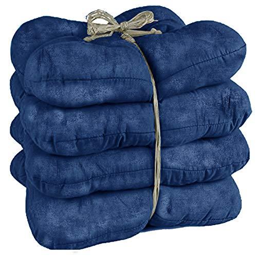 JEMIDI 4er Pack Stuhlkissen Stuhl Sitzkissen 38cm x 38cm x 8cm stark gepolstert für Indoor und Outdoor (Blau)