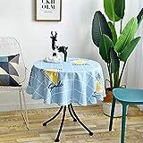 Mantel Redondo con Estampado Geométrico, Mantel Lavable para Decoración De Mesa De Centro, Mantel De Cocina para Té, Mantel