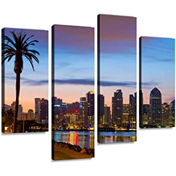 Amazon Com San Diego Downtown Skyline And Palm Tree At Dawn Canvas Wall Art Hanging Paintings Modern Artwork Abstract Picture Prints Home Decoration Gift Unique Designed Framed 4 Panel Posters Prints