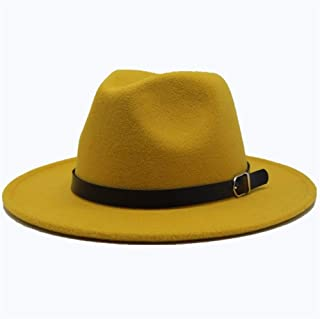 Women Men Wool Fedora Hat with Leather Belt Party ChurchHat for Lady Fascinator Hat Autumn Casual Wild Hat Size 56-58CM. XGCCDAUha (Color : Yellow, Size : 56-58)