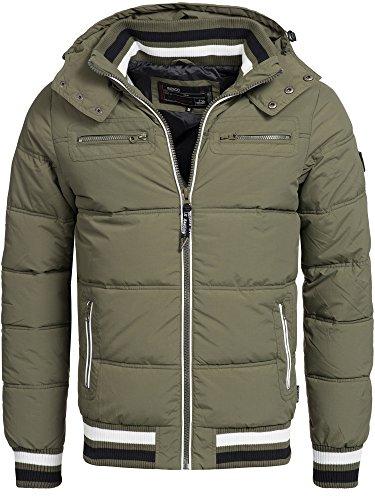 Indicode Herren Marlon Steppjacke in Daunenjacken-Optik mit Abnehmbarer Kapuze | warme Winterjacke gefütterte Übergangsjacke Regenjacke mit 6 Taschen Jacke für Männer Army S