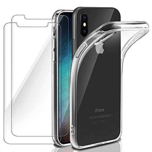 ivencase iPhone Xs Case Cover + [2 Pack] 9H Hardness HD Tempered Glass Screen Protector for iPhone Xs Case Cover, Bumper Soft Crystal Clear Silicone Shockproof TPU Cover Case iPhone Xs - 5.8 inch