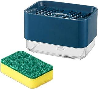 Warmwin avec Porte-éponge,Distributeur de Pompe à Savon,récipient de Liquide,Type à poussée Manuelle,Organisateur,Cuisine ...