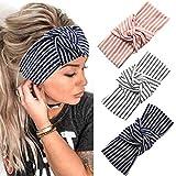 Fashband Yoga Fascia per capelli Boho Knot Fascia per capelli Stripe Head Sciarpe Accessori per capelli elastici per donne e ragazze (confezione da 3)