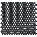 "SomerTile Hudson Penny Round Matte Black 12"" x 12-5/8"" x 5 mm Porcelain Mosaic Tile (10 tiles/10.74 sqft.)"