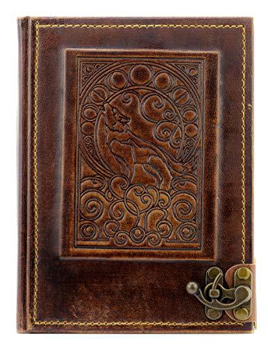 Taccuino vintage in vera pelle | Fenriswolf | fatto a mano | marrone | misura L – 23,0 x 17,0 x 2,3 cm | 360 pagine bianche avorio | lupo