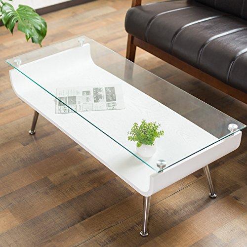 システムK 曲げ木センターテーブル ガラステーブル ローテーブル 強化ガラス天板 ホワイト