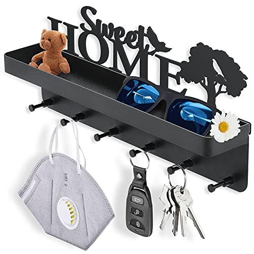 Splonary Colgador de llaves con estante, Home Sweet Home, autoadhesivo, organizador de 6 ganchos, decorativo para colgar llaves, decoración para la entrada, mudroom, pasillo, cocina, oficina (negro)