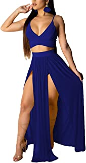 Women Sexy 2 Piece Outfits Dress Chiffon Strap Deep V Neck Bra Crop Top High Split Maxi Dresses Skirt Set