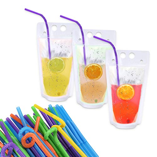 TRUSBER 100PCs Drink Pouches Container Smoothie Bags Stand up Drink Bags withFlexibleStrawsHeavy Duty Hand held Translucent 17oz with 3.2inch Gusset Bottom,Travel & To Go Food Bag