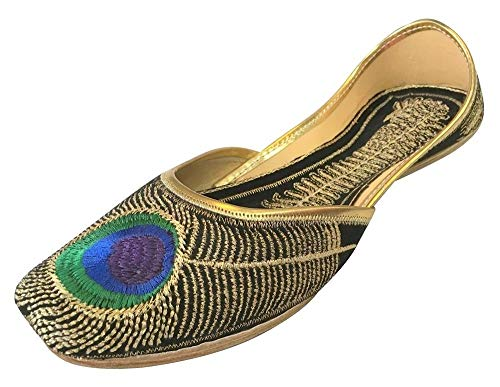 Step n Style Womens Khussa Shoes Punjabi Peacock Jutti Flat Ballet Jaipuri Sandal Black