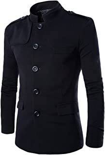 ZongSen Mens Leisure Stand Collar Tunic Suit Single Breasted Long Sleeve Slim Pocket Fitting Blazer