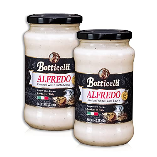 Alfredo Premium Italian Pasta Sauce by Botticelli, 14.5oz Jars (Pack of 2) - Product of Italy - Gluten-Free - Made with Real Italian Cheeses - Roman-Style Recipe