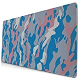 Pink and Blue Camouflage Design Pattern XXL XL Large Gaming Mouse Pad Mat Long Extended Mousepad Desk Pad Non-Slip Rubber Mice Pads Stitched Edges (29.5x15.7x0.12 Inch)