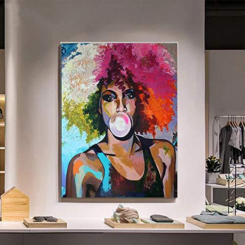 Geiqianjiumai Abstract vrouwenolieverfschilderijdoek affiche van het kauwgom meisje Afrikaanse en kunstprint
