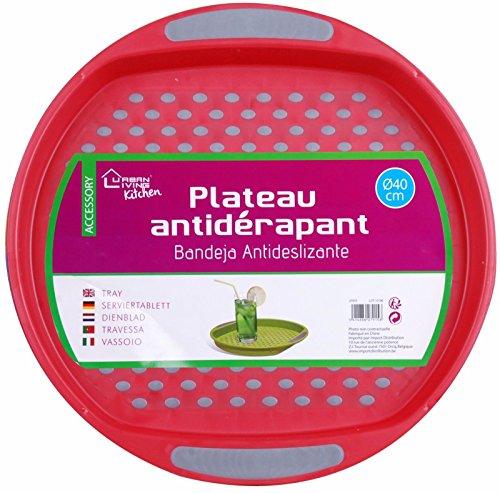 Grand plateau rond en plastique antidérapant 40 cm (rouge)