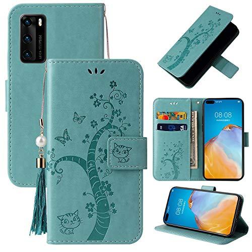 Miagon Brieftasche Flip Hülle für Huawei P40,Schön Schmetterling Baum Katze Design PU Leder Buch Stil Stand Funktion Handyhülle Case Cover,Grün