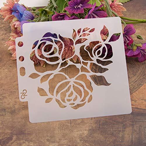 Haven Shop Plantilla de bricolaje, pintura para álbumes de recortes, estampado, manualidades, flores